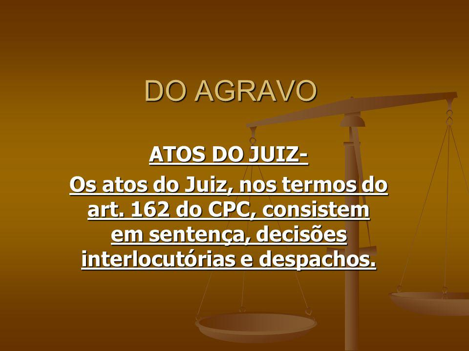 DO AGRAVO ATOS DO JUIZ- Os atos do Juiz, nos termos do art.