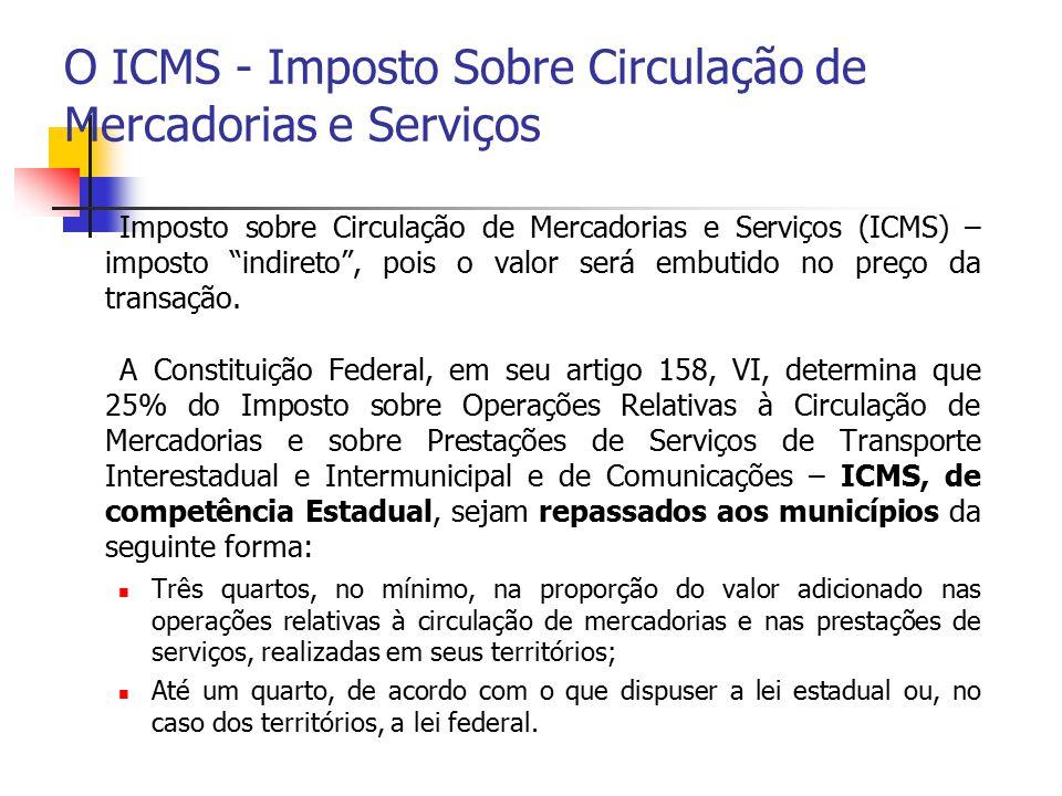 O ICMS - Imposto Sobre Circulação de Mercadorias e Serviços
