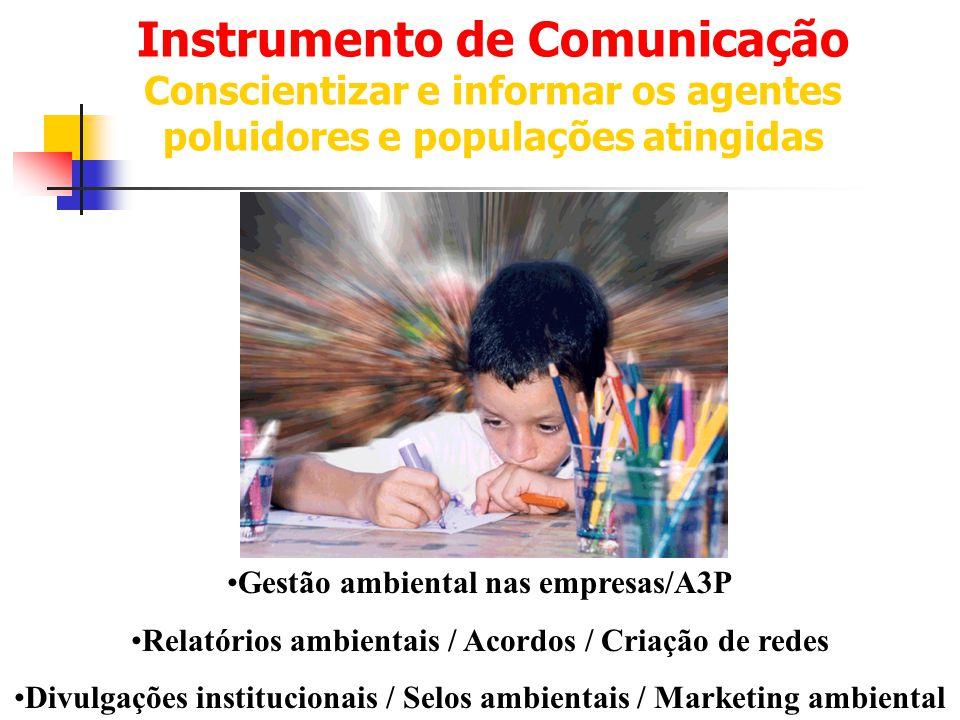 Instrumento de Comunicação Conscientizar e informar os agentes poluidores e populações atingidas