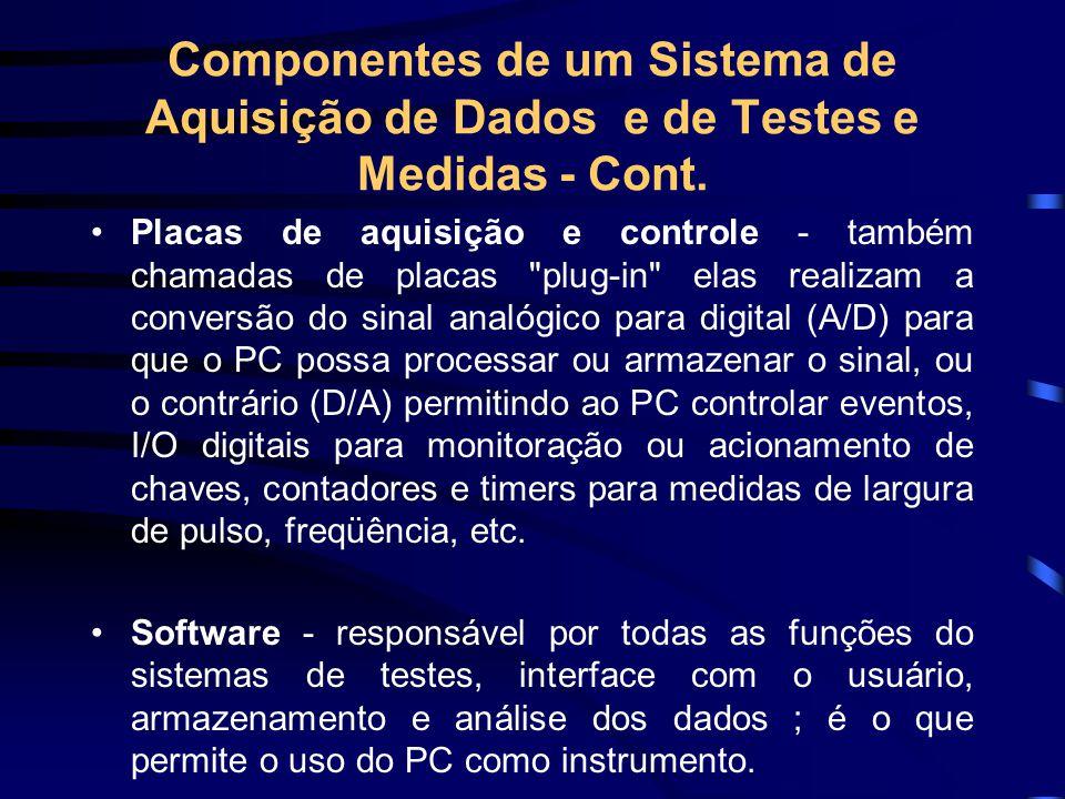 Componentes de um Sistema de Aquisição de Dados e de Testes e Medidas - Cont.