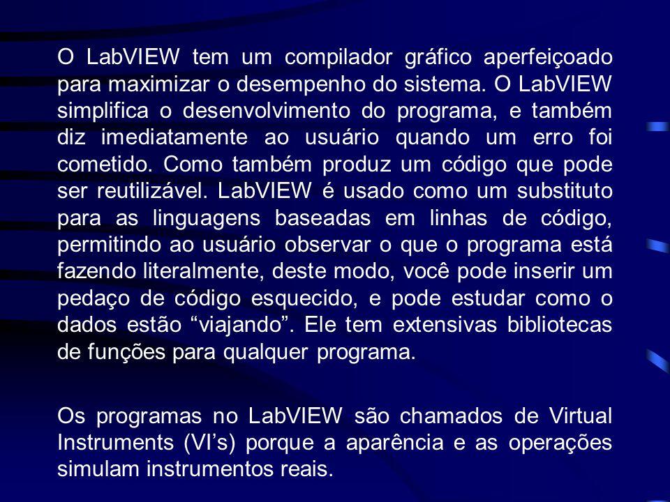 O LabVIEW tem um compilador gráfico aperfeiçoado para maximizar o desempenho do sistema. O LabVIEW simplifica o desenvolvimento do programa, e também diz imediatamente ao usuário quando um erro foi cometido. Como também produz um código que pode ser reutilizável. LabVIEW é usado como um substituto para as linguagens baseadas em linhas de código, permitindo ao usuário observar o que o programa está fazendo literalmente, deste modo, você pode inserir um pedaço de código esquecido, e pode estudar como o dados estão viajando . Ele tem extensivas bibliotecas de funções para qualquer programa.
