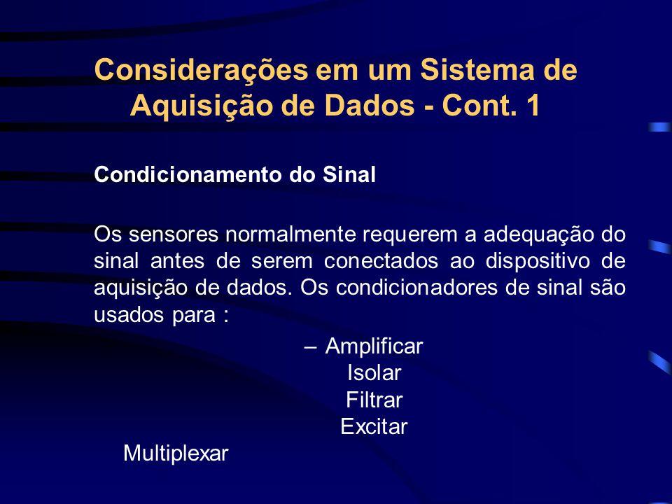 Considerações em um Sistema de Aquisição de Dados - Cont. 1