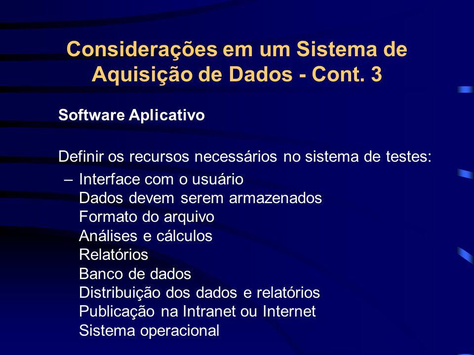 Considerações em um Sistema de Aquisição de Dados - Cont. 3
