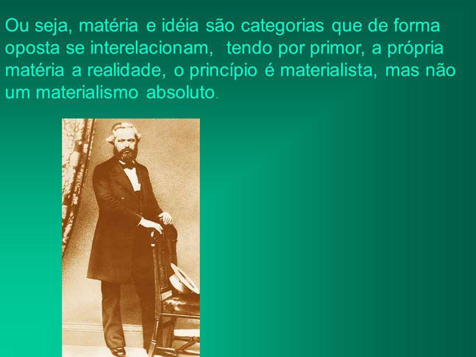 Ou seja, matéria e idéia são categorias que de forma oposta se interelacionam, tendo por primor, a própria matéria a realidade, o princípio é materialista, mas não um materialismo absoluto.