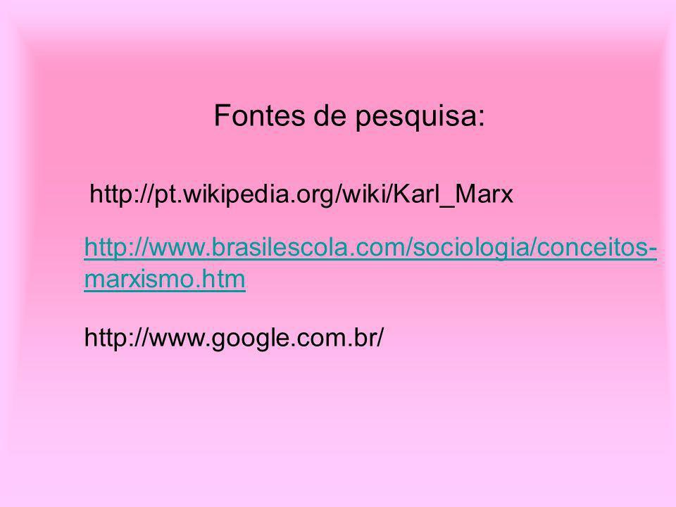 Fontes de pesquisa: http://pt.wikipedia.org/wiki/Karl_Marx