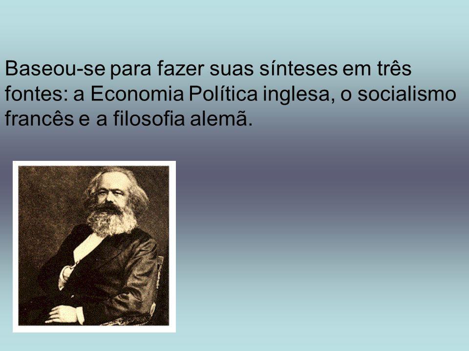 Baseou-se para fazer suas sínteses em três fontes: a Economia Política inglesa, o socialismo francês e a filosofia alemã.