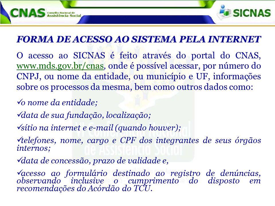 FORMA DE ACESSO AO SISTEMA PELA INTERNET