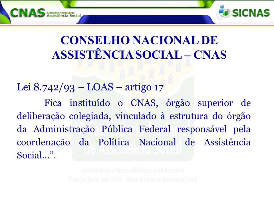 CONSELHO NACIONAL DE ASSISTÊNCIA SOCIAL – CNAS