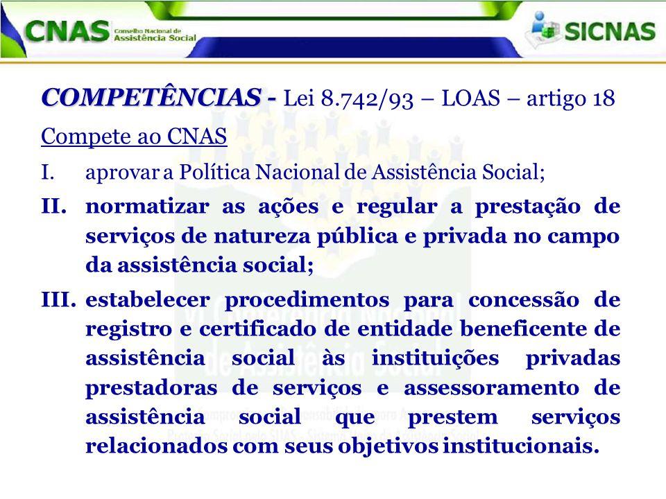 COMPETÊNCIAS - Lei 8.742/93 – LOAS – artigo 18