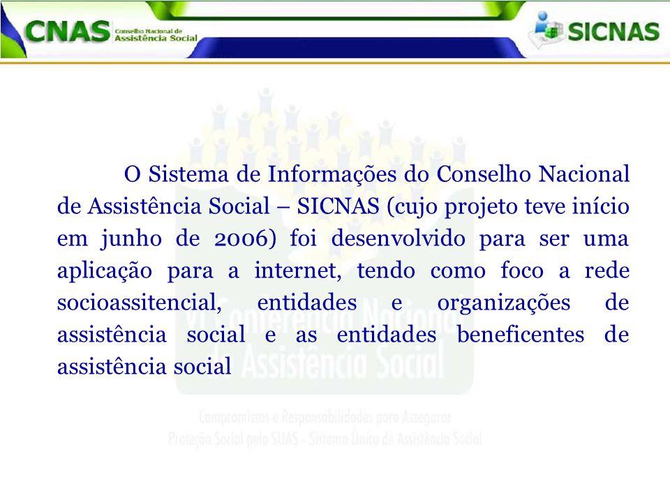 O Sistema de Informações do Conselho Nacional de Assistência Social – SICNAS (cujo projeto teve início em junho de 2006) foi desenvolvido para ser uma aplicação para a internet, tendo como foco a rede socioassitencial, entidades e organizações de assistência social e as entidades beneficentes de assistência social