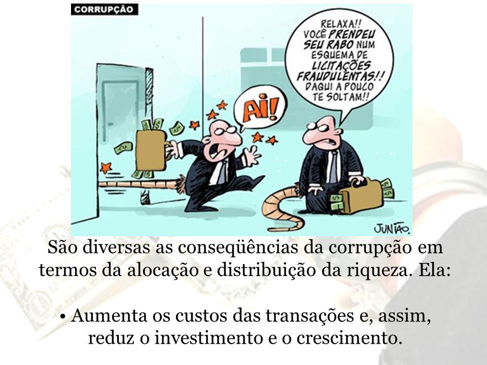 São diversas as conseqüências da corrupção em termos da alocação e distribuição da riqueza. Ela:
