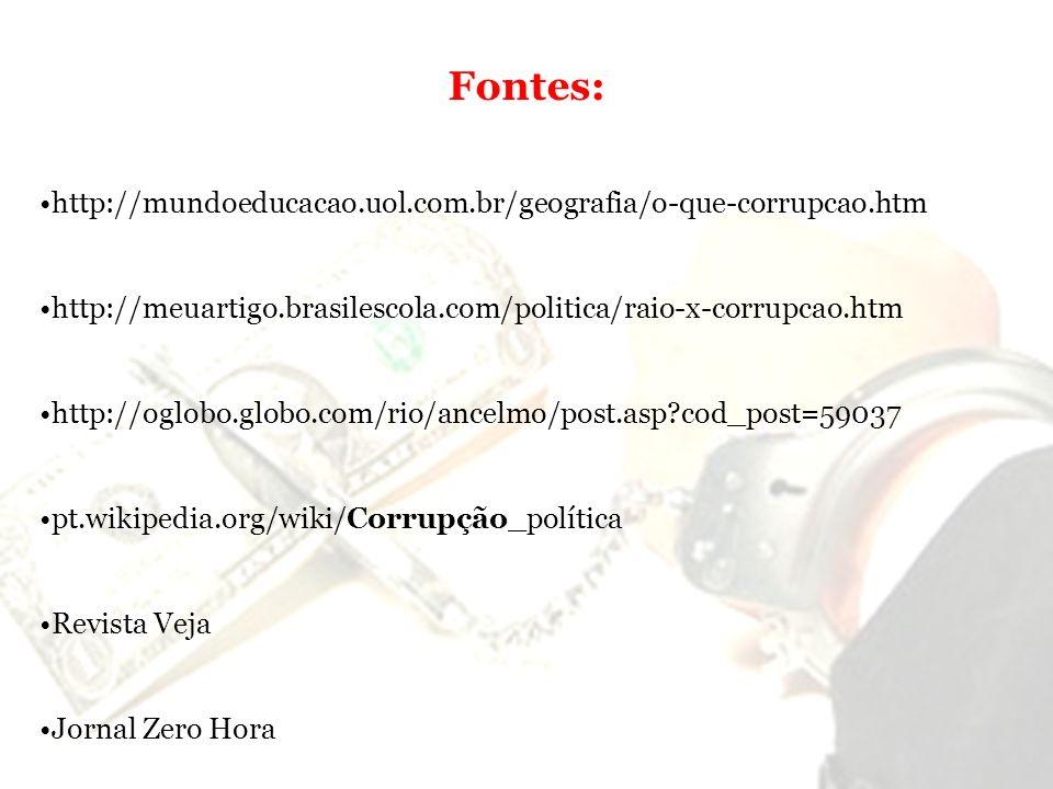 Fontes: http://mundoeducacao.uol.com.br/geografia/o-que-corrupcao.htm