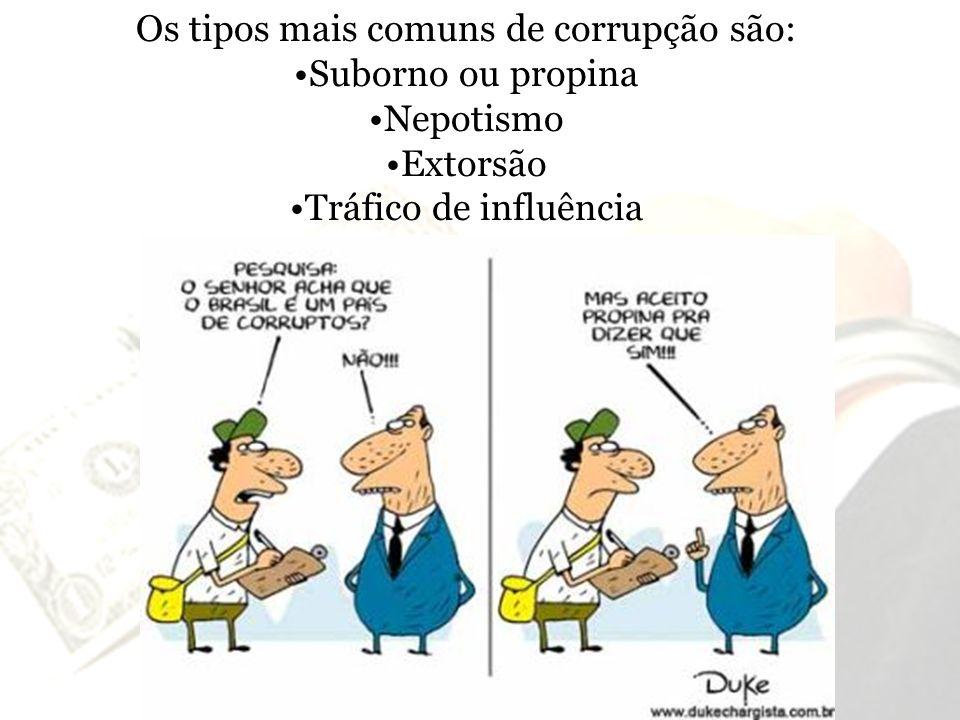 Os tipos mais comuns de corrupção são: