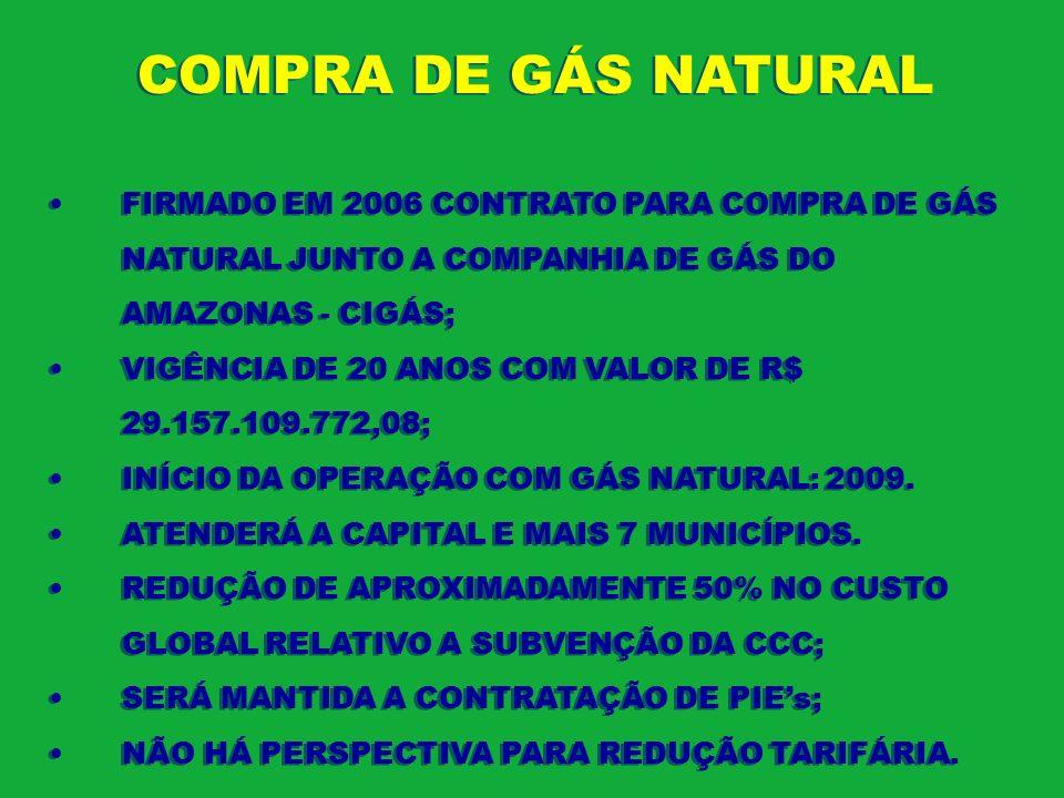 COMPRA DE GÁS NATURAL FIRMADO EM 2006 CONTRATO PARA COMPRA DE GÁS NATURAL JUNTO A COMPANHIA DE GÁS DO AMAZONAS - CIGÁS;