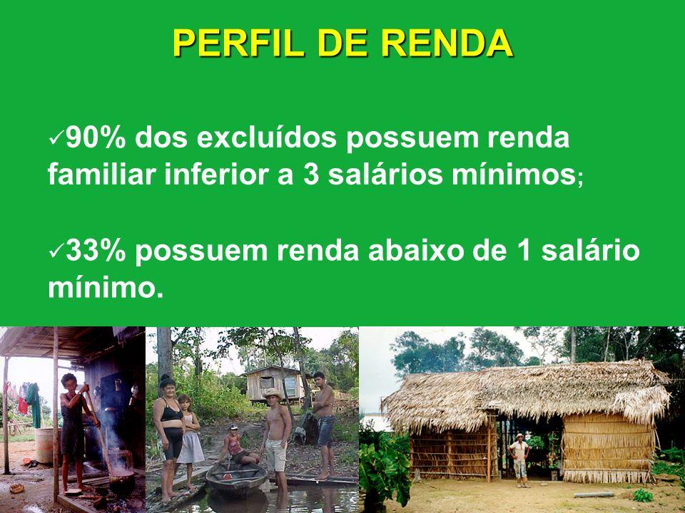 PERFIL DE RENDA 90% dos excluídos possuem renda familiar inferior a 3 salários mínimos; 33% possuem renda abaixo de 1 salário mínimo.