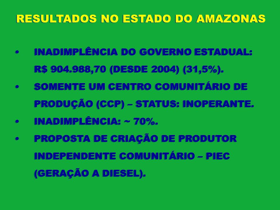 RESULTADOS NO ESTADO DO AMAZONAS