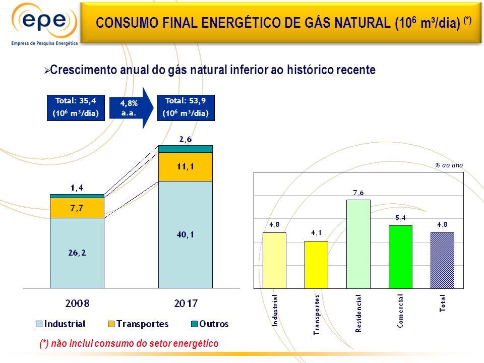 CONSUMO FINAL ENERGÉTICO DE GÁS NATURAL (106 m³/dia) (*)