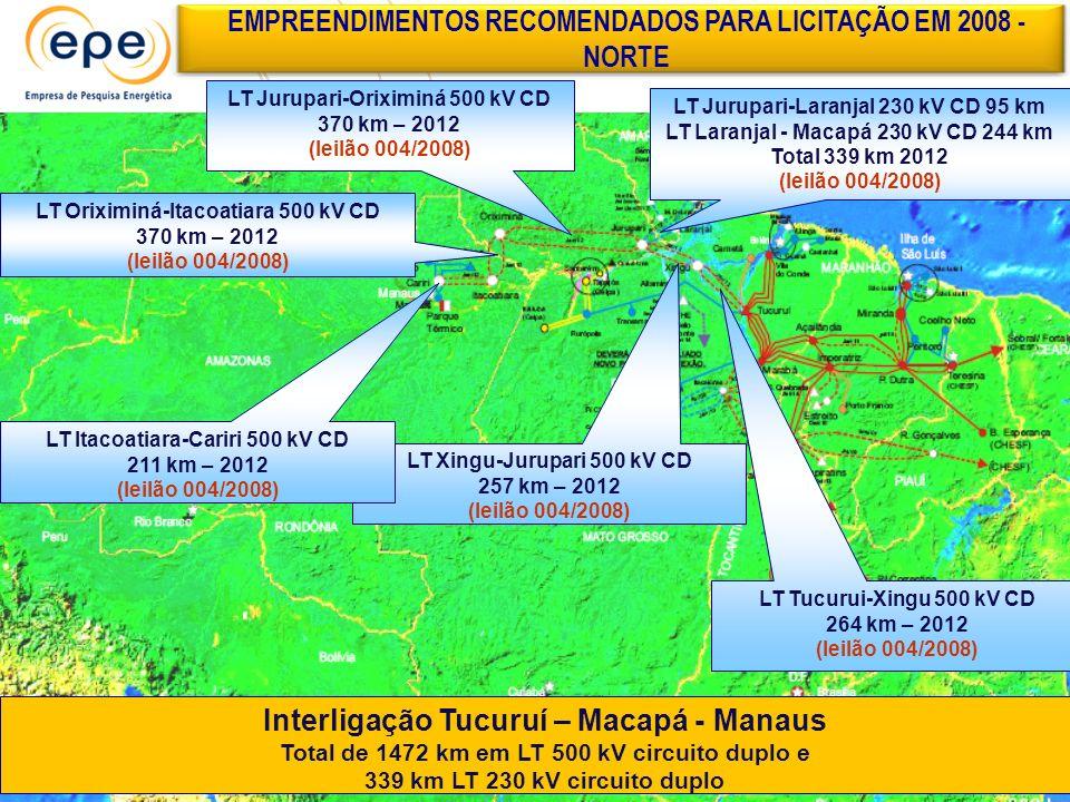 EMPREENDIMENTOS RECOMENDADOS PARA LICITAÇÃO EM 2008 - NORTE