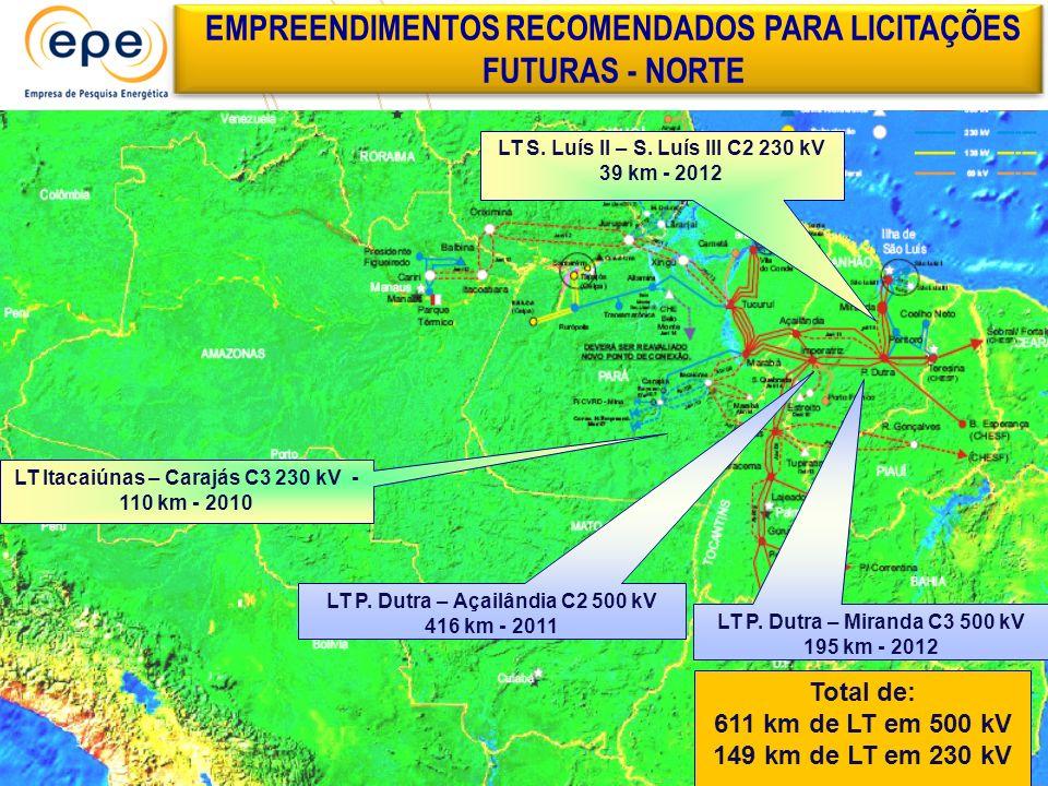 EMPREENDIMENTOS RECOMENDADOS PARA LICITAÇÕES FUTURAS - NORTE