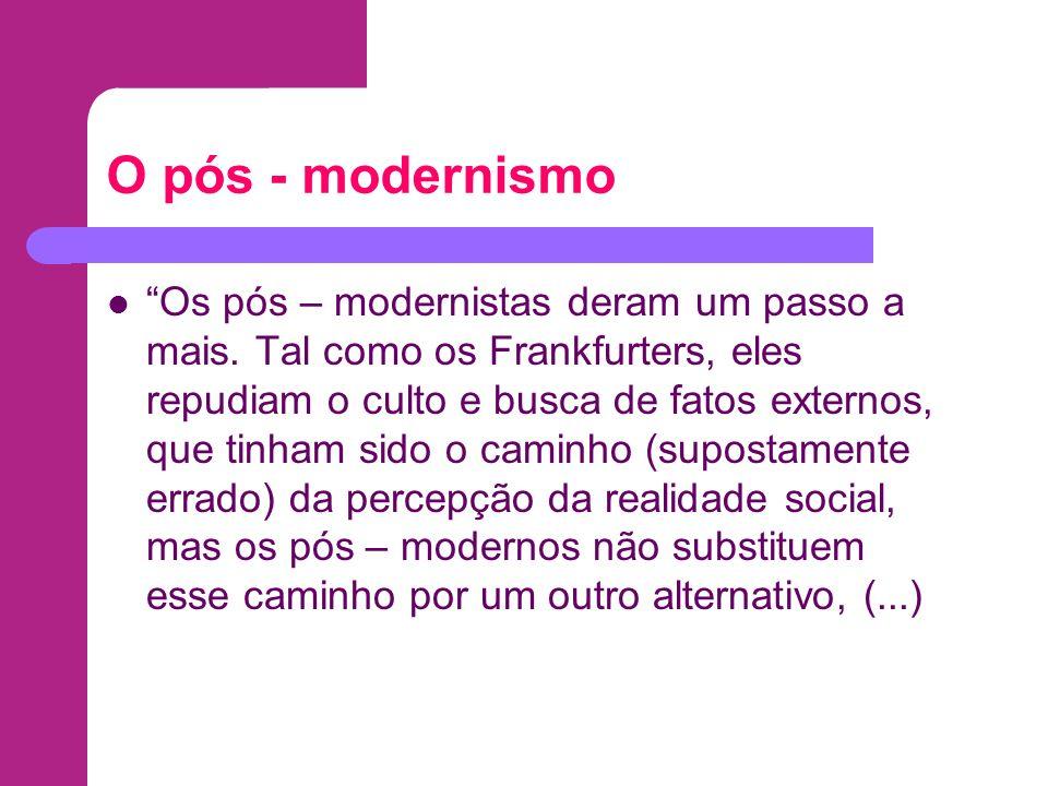 O pós - modernismo