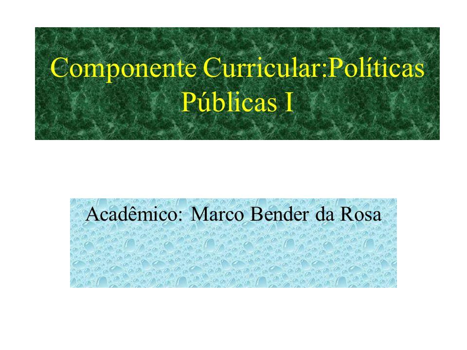 Componente Curricular:Políticas Públicas I