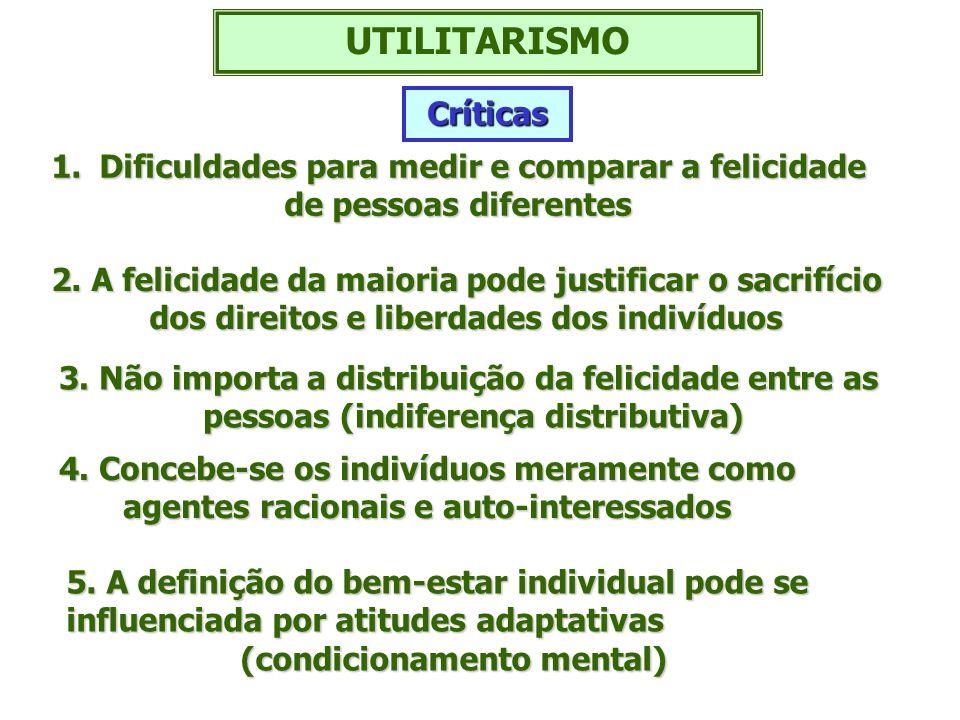 UTILITARISMO Críticas Dificuldades para medir e comparar a felicidade