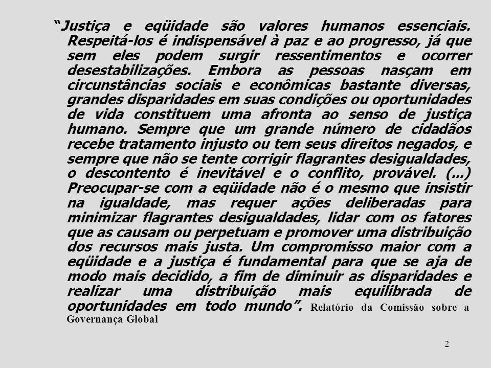 Justiça e eqüidade são valores humanos essenciais