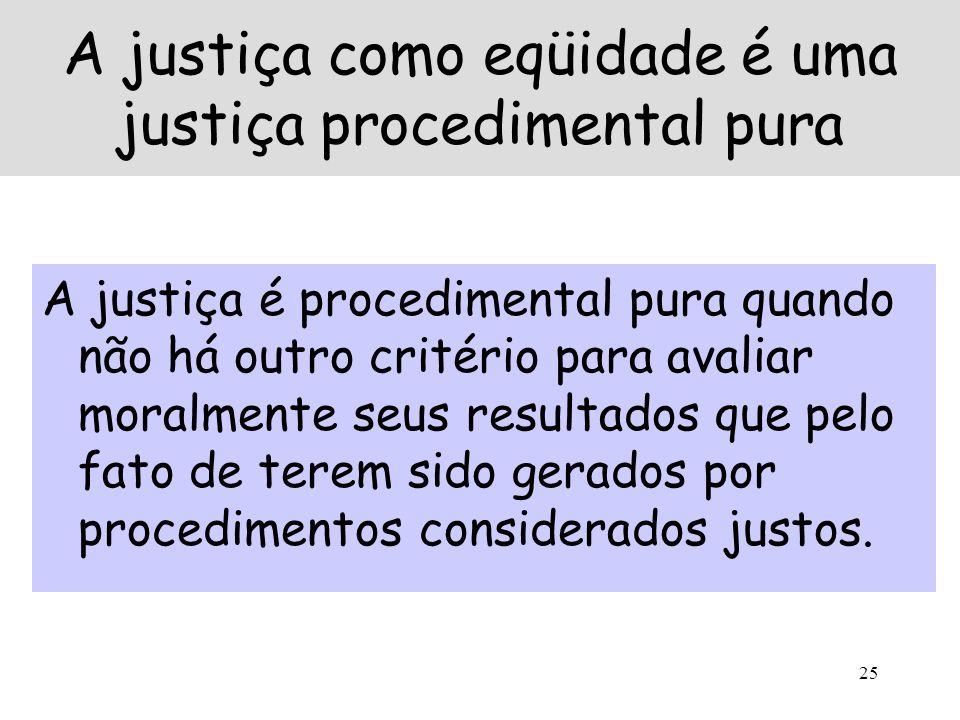 A justiça como eqüidade é uma justiça procedimental pura