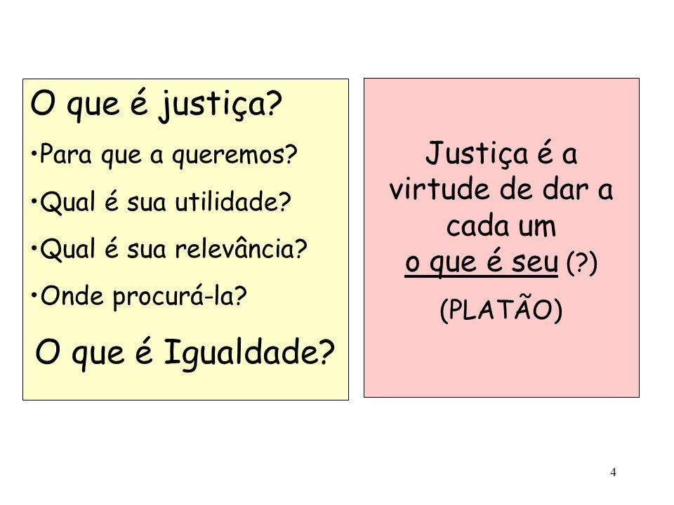 Justiça é a virtude de dar a cada um o que é seu ( )