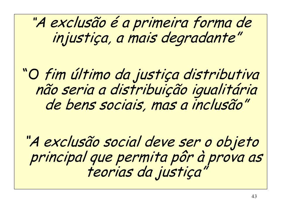 A exclusão é a primeira forma de injustiça, a mais degradante