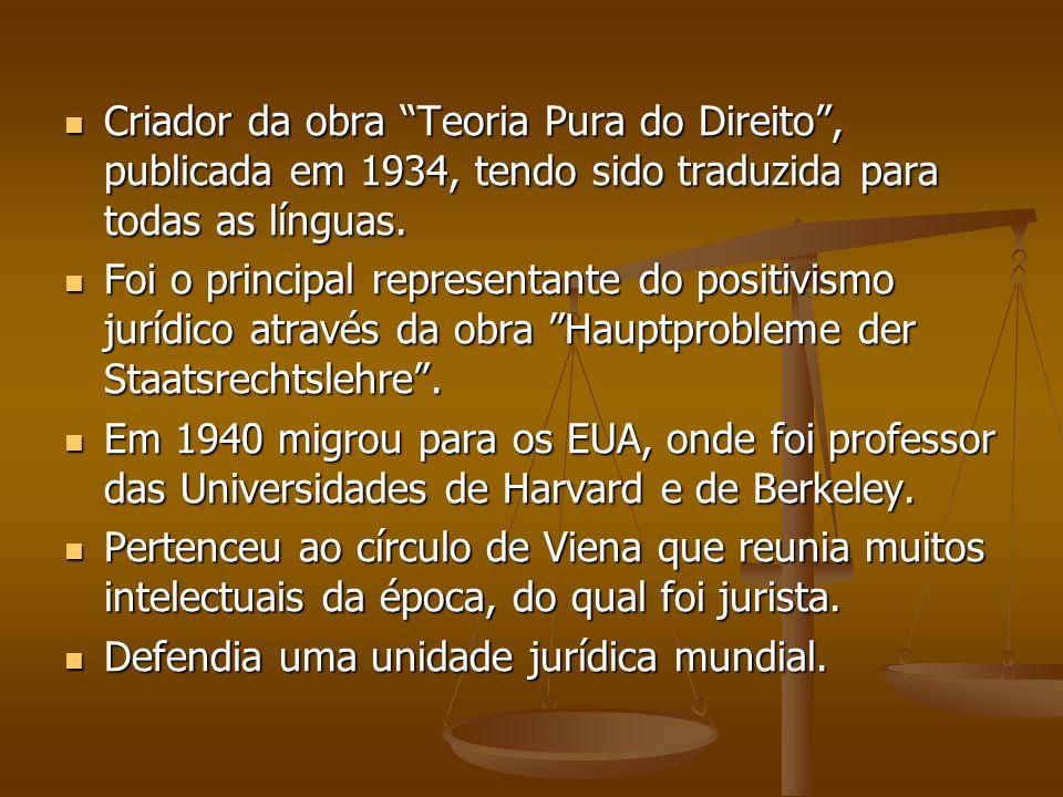 Criador da obra Teoria Pura do Direito , publicada em 1934, tendo sido traduzida para todas as línguas.