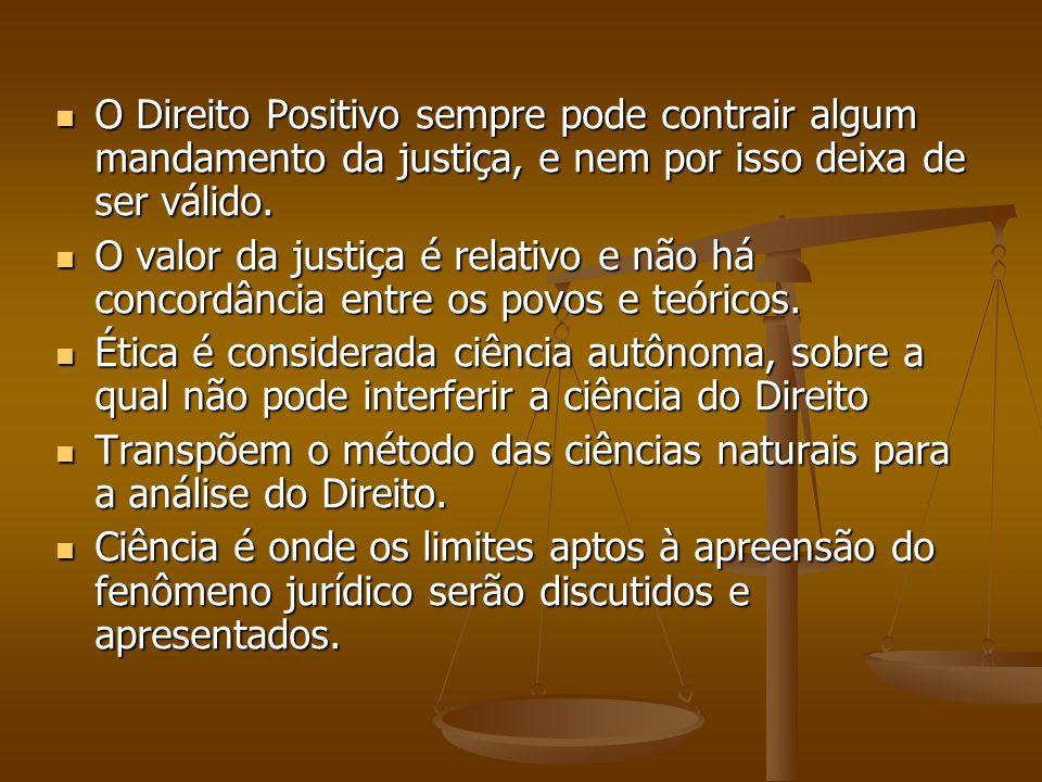 O Direito Positivo sempre pode contrair algum mandamento da justiça, e nem por isso deixa de ser válido.