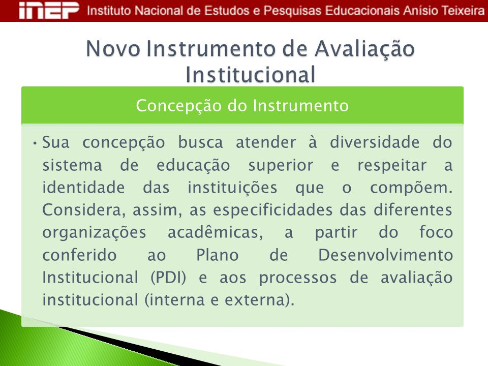 Novo Instrumento de Avaliação Institucional