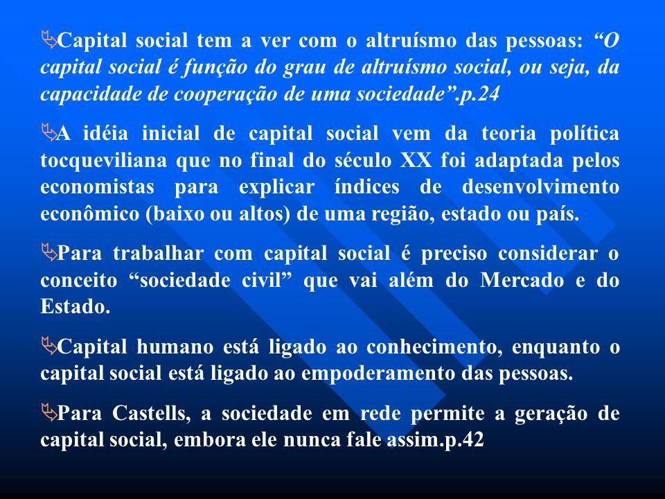 Capital social tem a ver com o altruísmo das pessoas: O capital social é função do grau de altruísmo social, ou seja, da capacidade de cooperação de uma sociedade .p.24