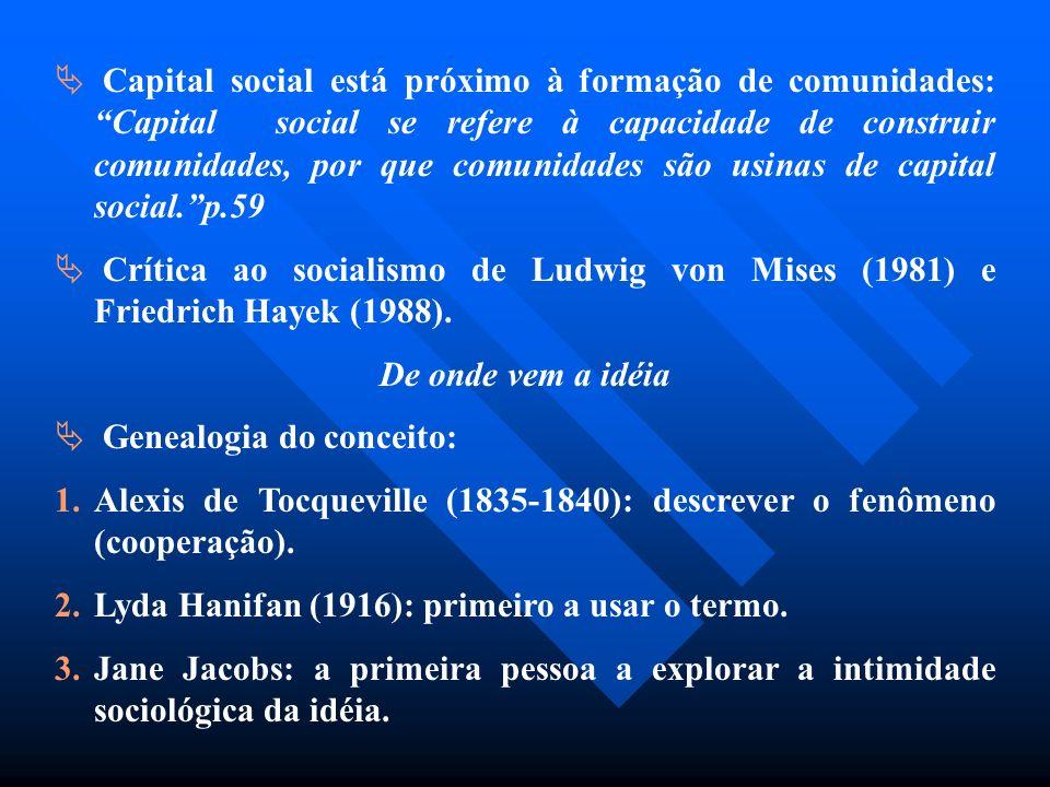 Capital social está próximo à formação de comunidades: Capital social se refere à capacidade de construir comunidades, por que comunidades são usinas de capital social. p.59