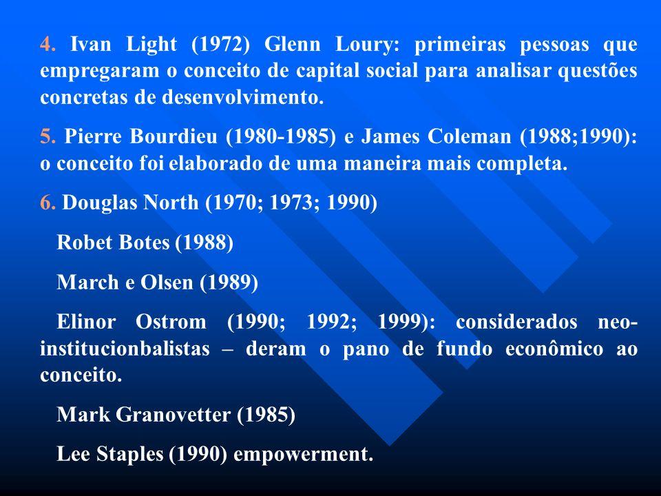 4. Ivan Light (1972) Glenn Loury: primeiras pessoas que empregaram o conceito de capital social para analisar questões concretas de desenvolvimento.