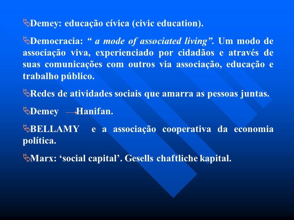 Demey: educação cívica (civic education).