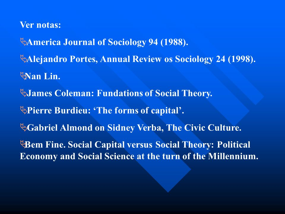 Ver notas: America Journal of Sociology 94 (1988). Alejandro Portes, Annual Review os Sociology 24 (1998).