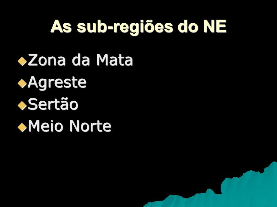 As sub-regiões do NE Zona da Mata Agreste Sertão Meio Norte