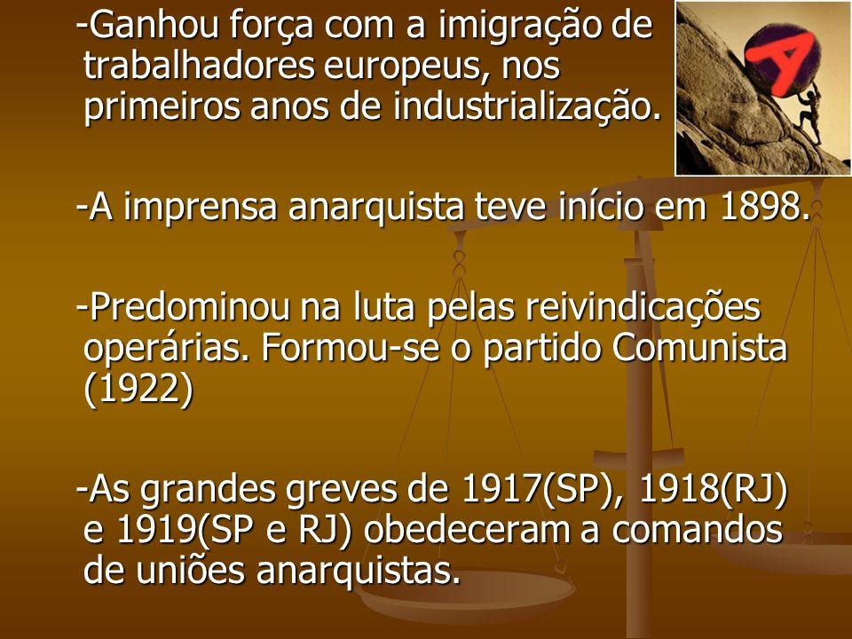 -Ganhou força com a imigração de trabalhadores europeus, nos primeiros anos de industrialização.