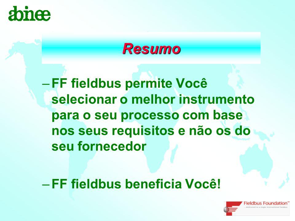 Resumo FF fieldbus permite Você selecionar o melhor instrumento para o seu processo com base nos seus requisitos e não os do seu fornecedor.