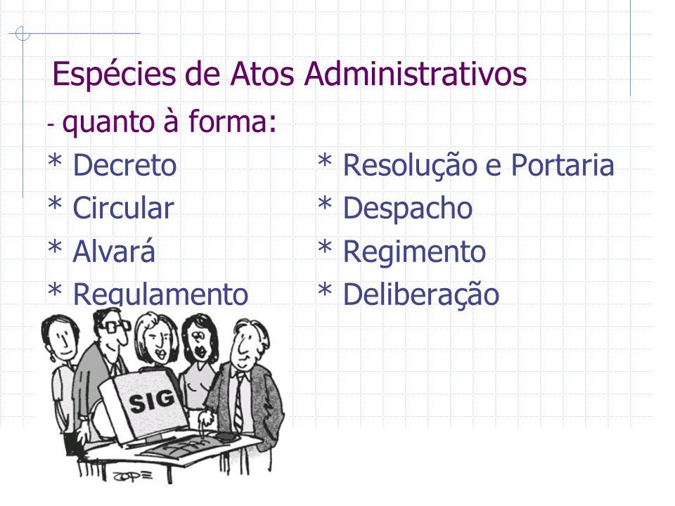 Espécies de Atos Administrativos