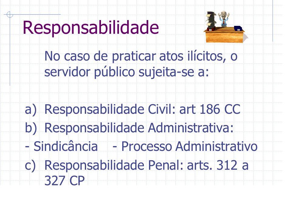 Responsabilidade No caso de praticar atos ilícitos, o servidor público sujeita-se a: a) Responsabilidade Civil: art 186 CC.