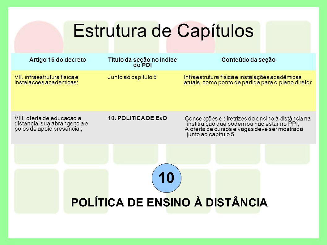 Titulo da seção no indice do PDI POLÍTICA DE ENSINO À DISTÂNCIA
