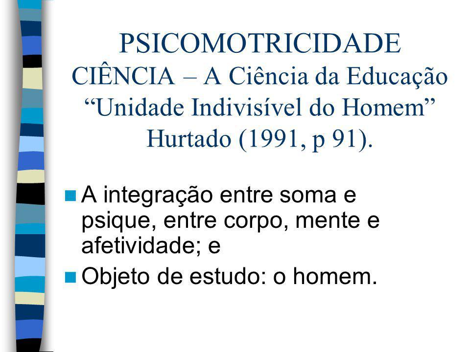 PSICOMOTRICIDADE CIÊNCIA – A Ciência da Educação Unidade Indivisível do Homem Hurtado (1991, p 91).