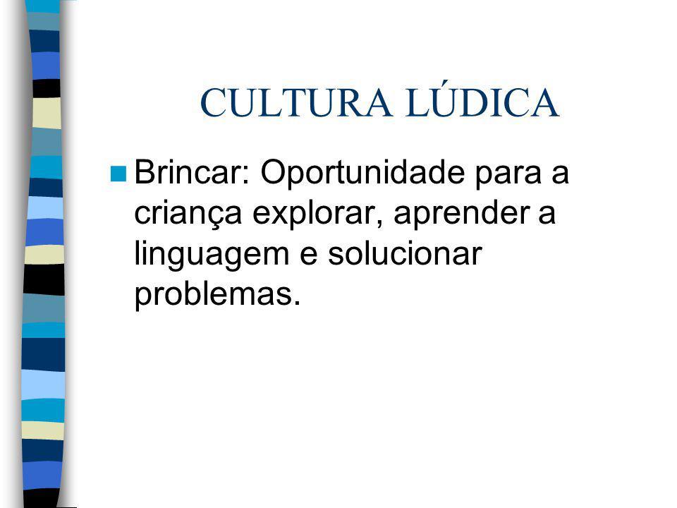 CULTURA LÚDICA Brincar: Oportunidade para a criança explorar, aprender a linguagem e solucionar problemas.