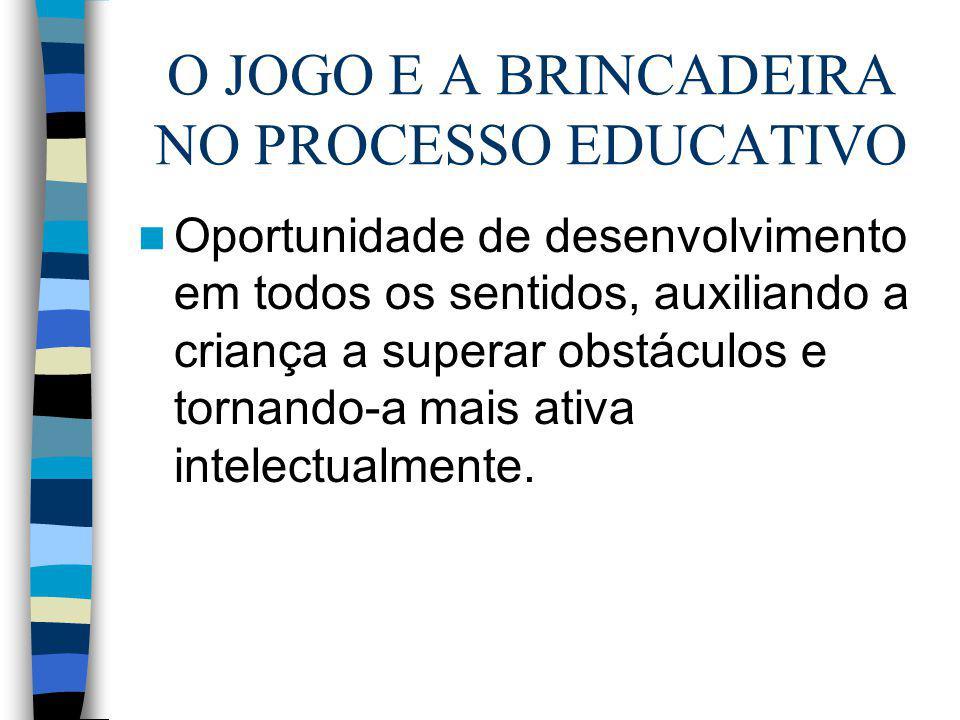 O JOGO E A BRINCADEIRA NO PROCESSO EDUCATIVO