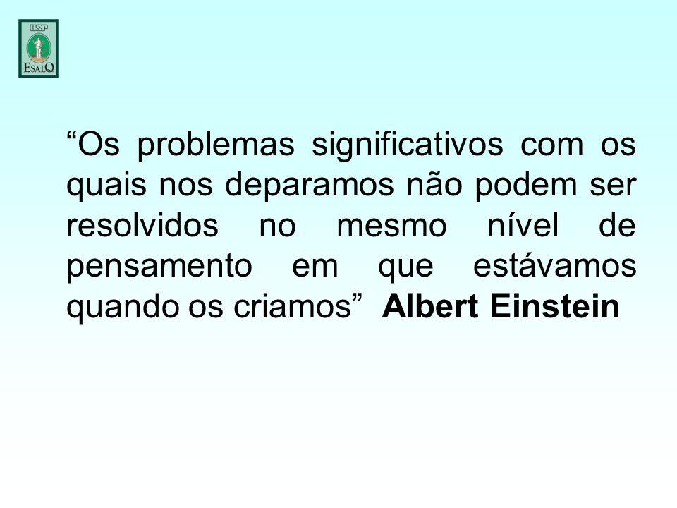 Os problemas significativos com os quais nos deparamos não podem ser resolvidos no mesmo nível de pensamento em que estávamos quando os criamos Albert Einstein