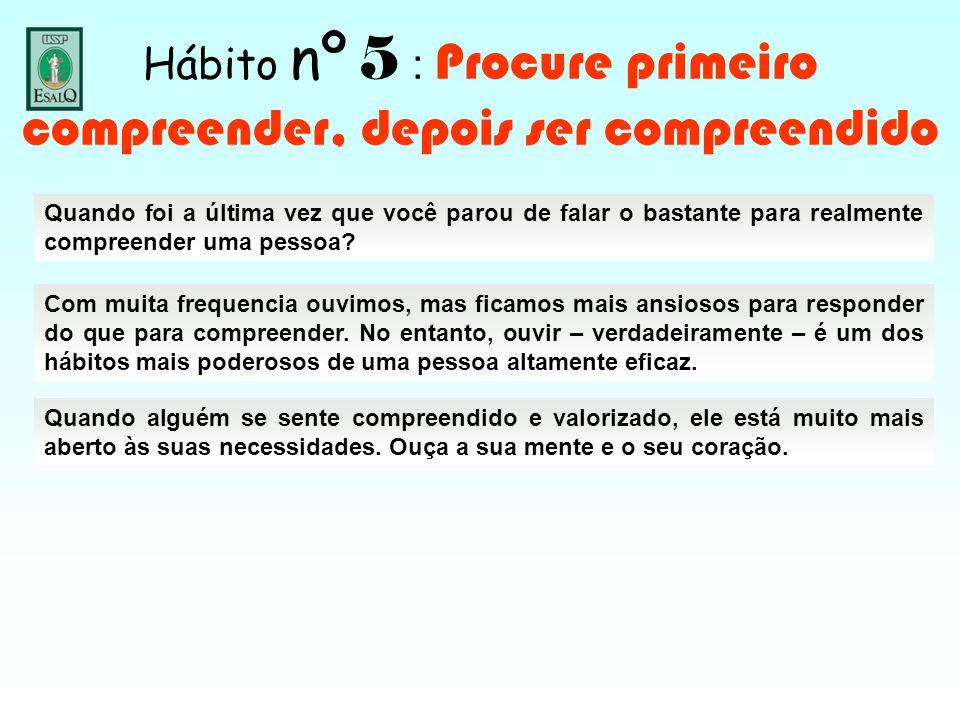 Hábito nº 5 : Procure primeiro compreender, depois ser compreendido