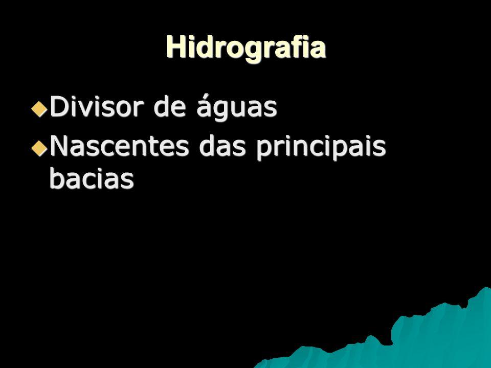 Hidrografia Divisor de águas Nascentes das principais bacias